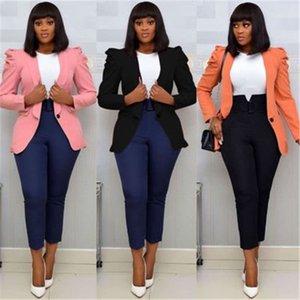 Дамы сплошной цветной костюм куртка мода Trend Trend с длинным рукавом упругость упругие пиджаки дизайнер женская зима новая кнопка повседневная тонкая слойка