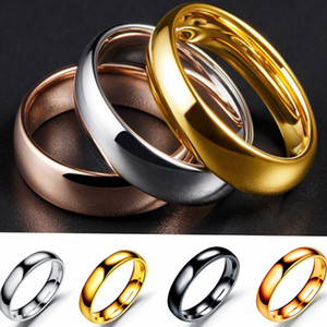 4mm Arc Stainless Steel Smooth Ring Personality Jewelry Christmas Gift Fashion Creative Couple ring Band Rings