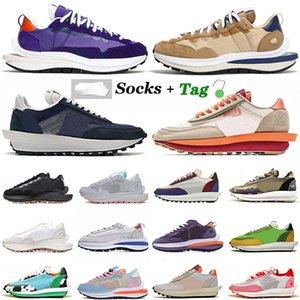 Top Quality Sacais LD Waffle Sneakers Womens Mens Running Shoes Vaporwaffle Fragment Sésamo Azul Vazio Nylon Iris Nylon Branco Off Black Gum Trainers Tamanho 36-45