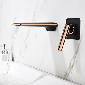 Tuqiu cuenca grifo rosa oro y baño negro fregadero grifo en pared negro cascada tapón de cuenca mezclador conjunto conjunto de combinación blanoir