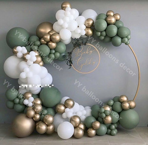 132pcsBaby ShoweR Balloon Garland Arch Kit 12Ft RETRO Green White Gold Latex Air Balloons Pack for Birthday Party Decor Supplie