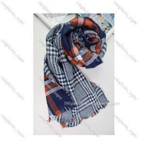 Fashion Women Knitted Winter Warm Scarf Plaid Scarfs Shawl Female Foulard Orange and Navy One Size