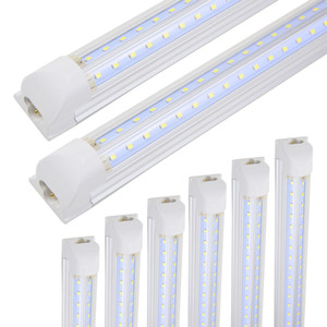 LED 샵 전등 8FT, LED 통합 튜브 라이트, 72W 7200LM 6000K, 병렬 더블 행, 차가운 흰색, 튜브 빛, Hight 출력, 클리어 콜로라도