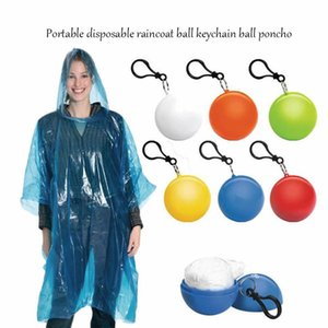 1 Pz portatile monouso impermeabile sfera plastica impermeabile viaggio di emergenza poncho poncho poncho monouso portachiavi anello a sfera