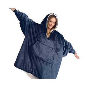 Winter Outdoor Hooded Pocket Blankets Warm Soft Hoodie Slant Robe Bathrobe Sweatshirt Pullover Fleece Blanket jllpsk soif