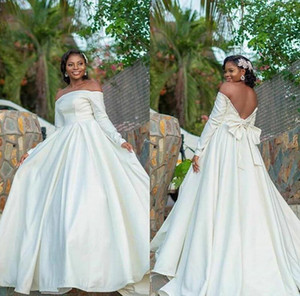 2021 Simple Satin A-Line Wedding Dresses Elegant Off the Shoulder Bow Beaded Long Sleeves Sweep Train Bridal Gowns vestido de novia