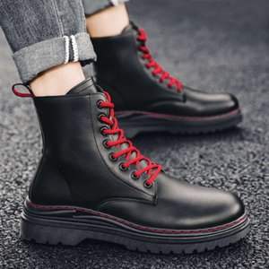 Ins Martin high top British combat locomotive Leather tooling shoes Men's Wear-resistant middle Boots