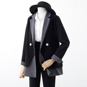 Женские костюмы Blazers 2021 весенний дизайн лоскутное женщина Blazer Striped Свободная кнопка Ложные 2 штуки Офисная дама All Match Eartwear Coats