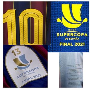 2021 Supercopa Final Match Abgenutzter Spielerausgabe mit Waschknopf Drucken Alle Namensnummer Fussball Patch Abzeichen