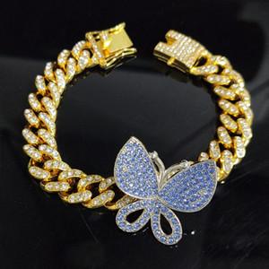 Blue Pink Cuban Link Butterfly Choker Bracelet Chain Crystal Rhinestone bracelet for Women Gold Collar Wholesale