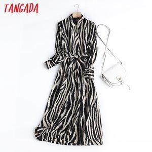 Tangada England Style Fashion Vintage Simple Zebra Pattern Party Midi Dress Women Vestidos with Slash 210222