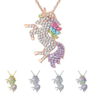 2021 Crystal Unicorn Necklace Silver Gold Diamond Animal Unicorn Necklaces Pendant Women Necklaces Fashion Jewlery will and sandy Gift
