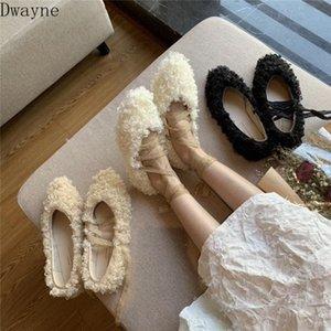 Sapatos de lã desgaste de inverno feminino 2020 New Net Red com o mesmo parágrafo Chic Flat Bottom Lace Curly Ballet Shoes Andando Sapatos Flat S G9YV #