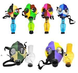 새로운 실리콘 연기 가스 마스크 파이프 봉 물 담뱃대 물 파이프 실리콘 해골 아크릴 봉 파이프 실리콘 흡연 파이프 FWC6004