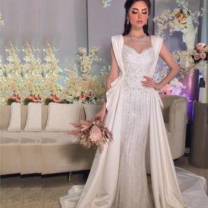 Arabic Overskirt Wedding Dresses Muslim Major Beading Sequined Ruched Pleats Satin Wrap Bridal Dress Plus Size vestidos de noiva