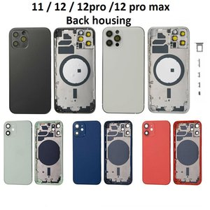 Alojamentos para iPhone 11 12 Pro Max 12Pro 12ProMax Voltar Moldura Médio Chassi Cobertura Completa Assembléia Bateria Da Bateria Porta