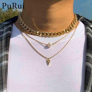 2021 Fashion Multilayer Hip Hop Short Chain Choker for Men Women Limitation Pearl Triangle Pendant Necklace Accessories