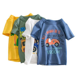 Designer Kids Boys Clothes Cotton Short Sleeve T-Shirts Car Bus Cartoon Children Clothes 2-9 Years Kids Summer Clothing