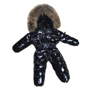 Luxury Large Real Fur Collar Infant Baby Snowsuit Thick Warm Down Rompers Hooded Toddler Boys Girls Jumpsuit One-pieces Ski Suit