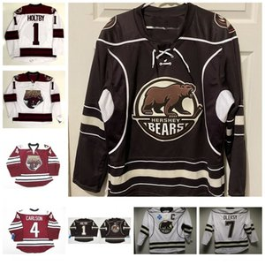 Homens vintage Hershey Bear 1 Brian Holt de 7 Steve Oleksy 4 Carlson Hóquei Jersey Capital Washington Personalize qualquer nome e jérseis numéricos