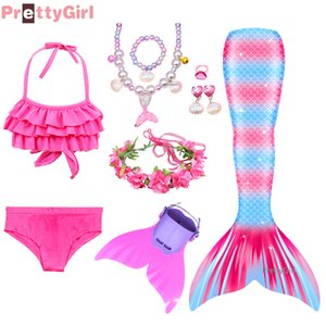 Girls Costume Swimmable Mermaid Tail with Bikini Mermaid Dress for Pool Party Children Beach Surfing Swimsuit