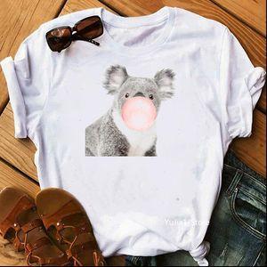Bubble Gum Giraffe Koala Zebra Bunny Alpaca animal print funny tshirt femme summer 2021 sproof t shirt women harajuku shirt
