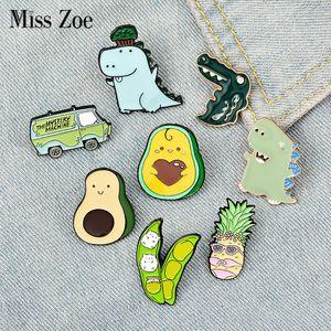 Green Spring Enamel Pin Custom Cartoon Avocado Pea Pineapple Dinosaur Bus Brooches Bag Lapel Pin Fun Badge Jewelry Gift KidsDIO CHAN CONTAC