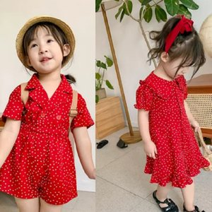 SK korean ins fashions Girls dress autumn children overalls polka dot pants 2 styles summer child dress kids princess dress