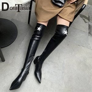 Doratasia New Womens Muslo Botas altas Kid Suede Punto puntiagudo Toe Chunky Heels Zapatos Mujer Party Over Ther Knee Boots Femenina S9PG #