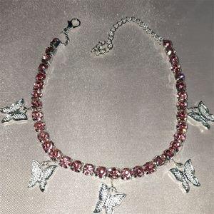 Stonefans Gold Tennis Rhinestone Jewelry for Women Crystal Butterfly Pendant Anklet Beach Foot Chain Bracelet 191 U2