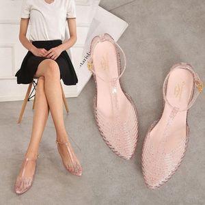 Women Sandals 2019 New Arrival T Strap Non Slip Outdoor Beach Women Jelly Shoes Pointed Toe Summer Korea Princess Flats T14b#
