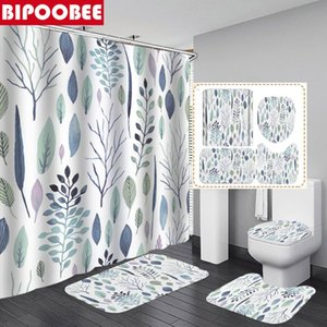 Shower Curtains Tropical Plants Curtain Floral Leaf Branches Bathroom With Hooks Non-Slip Carpet Toilet Lid Cover Bath Mats Rugs