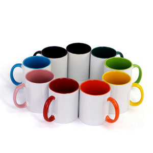 Blank Sublimation Ceramic mug color handle Color inside blank cup by Sublimation INK DIY Transfer Heat Press Print Sea Shipping WWA187
