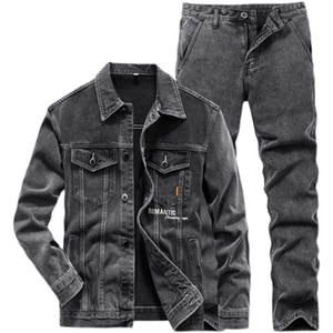 2021 New Men Casual Slim Black Men's Suits Jacket and Jeans 2PCS Set Spring Autumn Men Lapel Long Sleeve Denim Jacket + Jeans