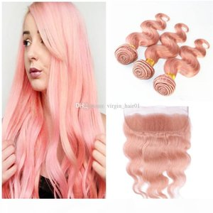 Rose Gold Lace Frontal With Bundles Pink Free Middle Three Part 13x4 Brazilian Body Wave Human Hair Lace Frontal Ear To Ear Closure
