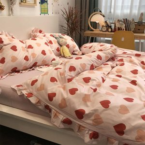 Sweet heart bedding set,1.2 1.5 1.8 fashion red pink cotton twin full queen King home textile bed sheet pillow case quilt cover