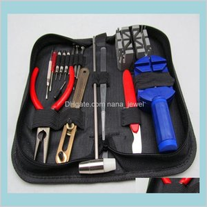 Wholesale- 16Pcs A Set Watch Repair Tool Kits Set Zip Case Holder Opener Remover Wrench Screwdrivers Watchmaker Watch Accessories Gnd4 Rvdkv