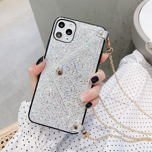 Fashion Lanyard Wallet Phone Case For iPhone 12 Mini 11 Pro XS MAX XR X 7 8 Plus Glitter Bling Sequins Crossbody Chain Bag Cover