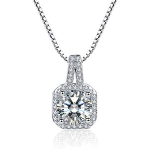 Simple Elegant 925 Sterling Silver Chain Necklace for Wedding Jewelry CZ Zircon Womens Pendants Necklaces Jewellery Gift10