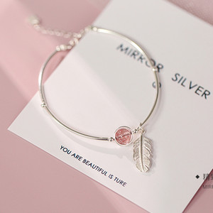 Bracelet 925 Sterling Silver chain Crystal Round Bead Feather Charm Bracelet & Bangles Adjustable Braclets For Women Wedding Jewelry SL261