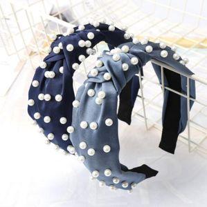 Candy Color Girl Pull Pearls Bow Design Fairband Boutique Прически Палочки Очаровательные Волосы Аксессуары для волос Свадебные Свадебные Волос Аксессуары313 T2