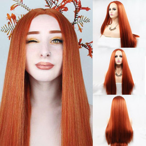 Long Straight 350# Ginger Colored T 13x1 Lace Front Synthetic Hair Wig Pre Plucked Orange Copper Red Lace Frontal Wigs For Women