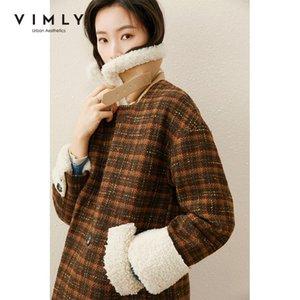 Abrigo de lana de tela escocesa de invierno Vimly para mujer Vintage Solapa Bolsillos sueltos CashMere Jackets largos elegante hembra abrigo F5681