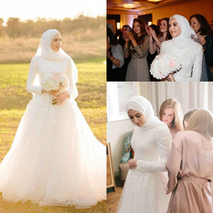 Saudi Arabic Muslim Vintage A-Line Plus Size Wedding Dresses Lace Applique Sweep Train Tulle Long Sleeve Bridal Gowns Vestido De Novia