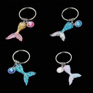 Heiße Meerjungfrau Pailletten Keychain Mode Mode Mermaid Fischtail Skala Schlüsselanhänger Tasche Geldbörse Legierung Anhänger Schlüsselanhänger WY947