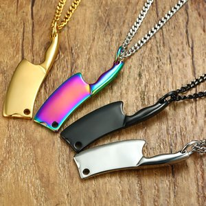 Men Hip-Hop Kitchen Chain Knife Titanium Color Pendant Steel Utn8069 Stainless Necklace Black Gold Silver Necklace Punk Jiing