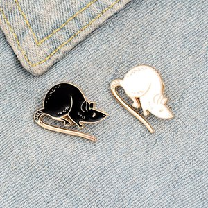 Black White Rats Enamel Pin Custom Mouse Brooches Animal Badge Bag Shirt Lapel Pin Buckle Simple Jewelry Gift for Friends