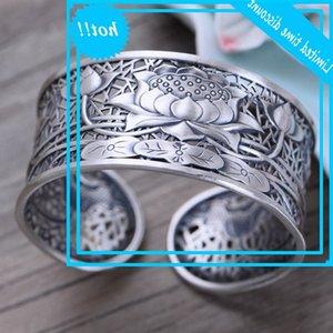 BOCAI Neue Effekte S999 Pure Jewelry Vintage Thai Silber Gravierte Lotus Blume Frauen Armband Mode