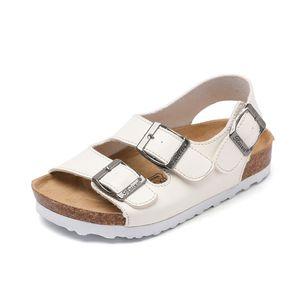 Famille 2020 Enfants Derniers Sandales pour garçons Filles Chaussures Casual Beach Sandal Sandal Sandales Plat Liège En bois Enfants Chaussures d'été Blanc Black J1211