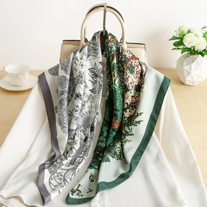 2021 spring summer new I style printed silk scarf multi-functional sunblock beach shawl decorative scarf